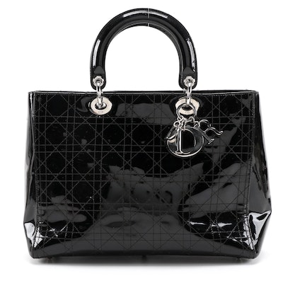 Christian Dior Large Lady Dior Tote Bag in Black Quilted Patent Leather
