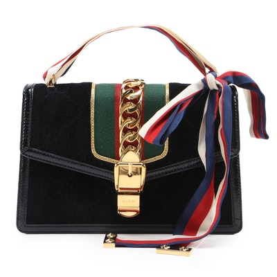 Gucci Small Sylvie Bag in GG Velvet with Sylvie Web Top Handle and Leather Trim
