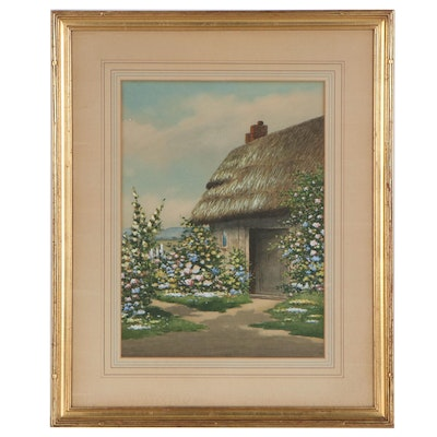 Judson Tunison Watercolor Painting of Thatched Roof Cottage