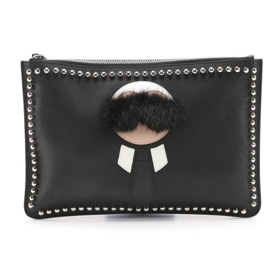 Fendi Karlito Black Coated Canvas and Mink Fur Pouch