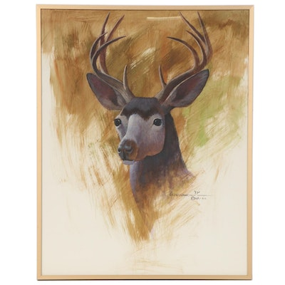 "Fred Cleveland Watercolor and Gouache Painting ""Five Point Buck Deer"""