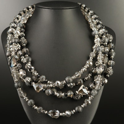 Rhinestone and Larvikite Graduated Multi-Strand Necklace
