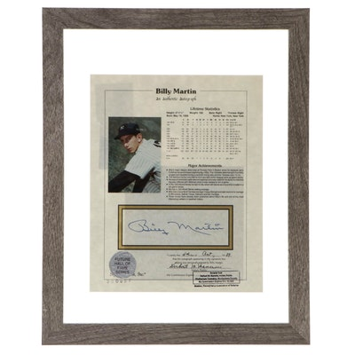 Billy Martin Signed New York Yankees Framed Baseball Stats Photo Print