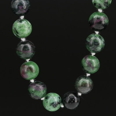Hand Knotted Ruby-in-Zoisite Beaded Necklace with Sterling Clasp