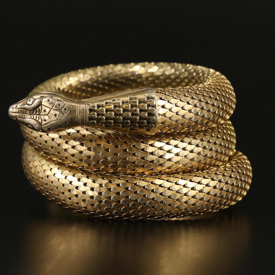 Vintage Whiting and Davis Snake Wrap Bracelet