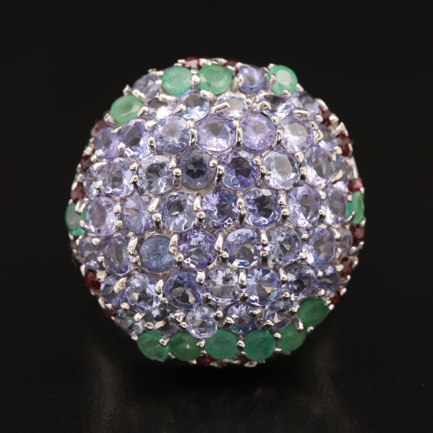 Sterling Tanzanite, Emerald and Garnet Cluster Ring