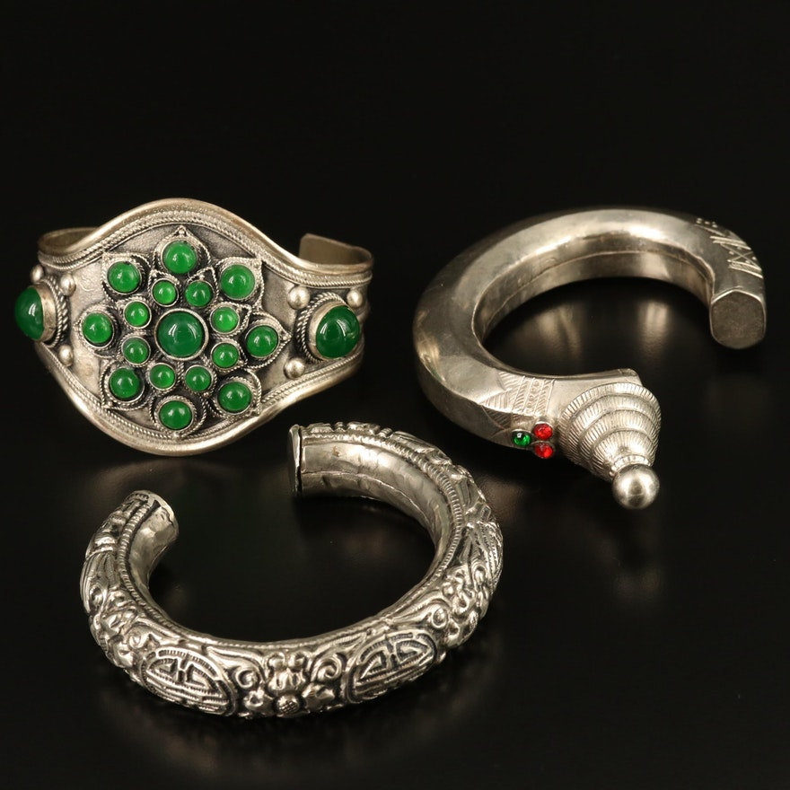 Ethnic Cuff Bracelets Including Afghan 800 Silver Piece