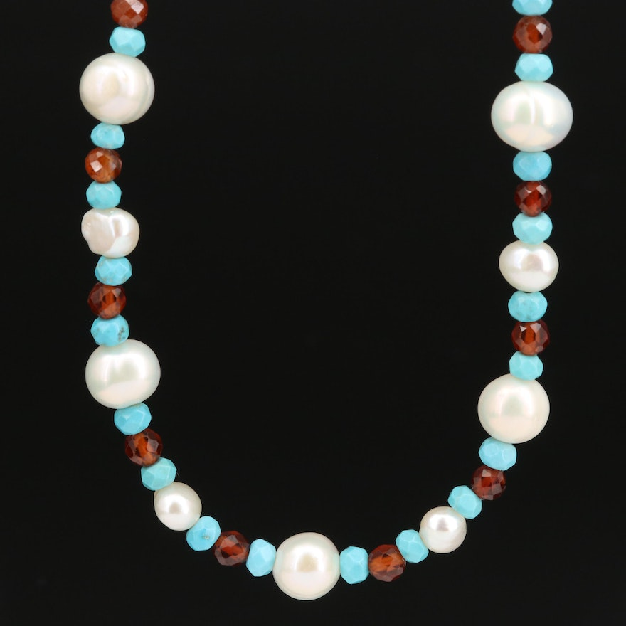 Pearl, Turquoise and Hessonite Beaded Necklace with Sterling Clasp