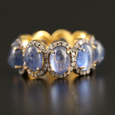 Sterling Sapphire and Diamond Eternity Band