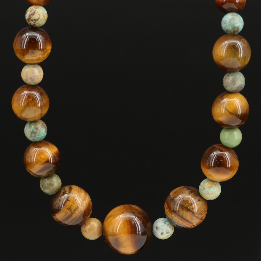 Tiger's Eye and Turquoise Graduated Necklace with Sterling Clasp