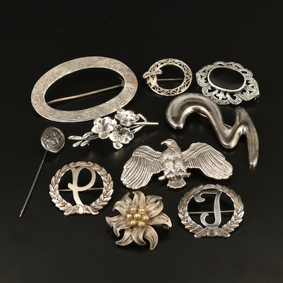 Antique and Vintage Sterling and 800 Silver Brooches and Stick Pin