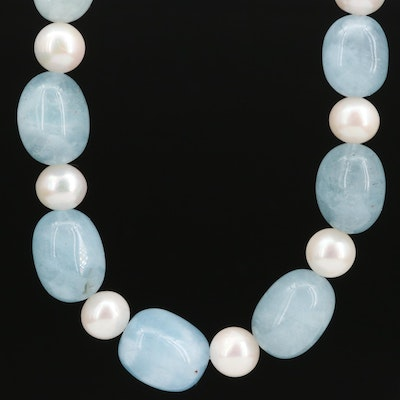 Aquamarine and Pearl Strand Necklace with Sterling Clasp