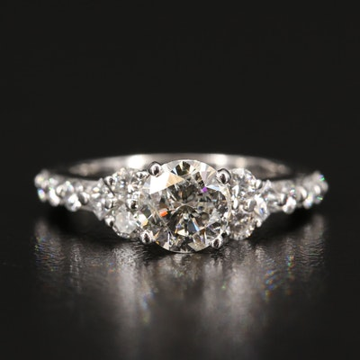 Platinum 1.75 CTW Diamond Cathedral Ring