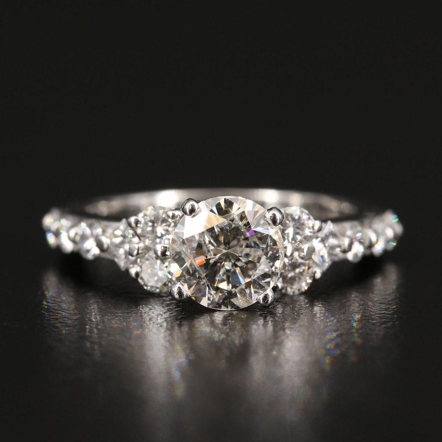 Platinum 1.75 CTW Diamond Cathedral Ring