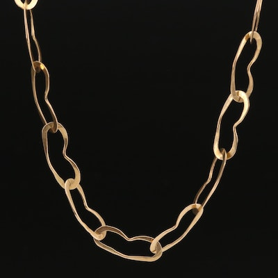 14K Heart Link Chain Necklace