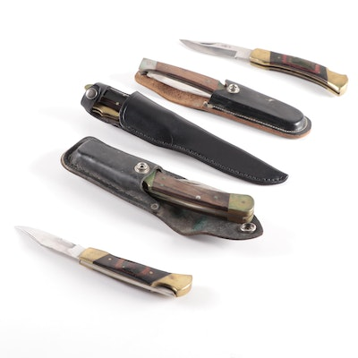 Buck and Other Brands Folding Pocket Knives and Leopard Brand Hunting Knife.