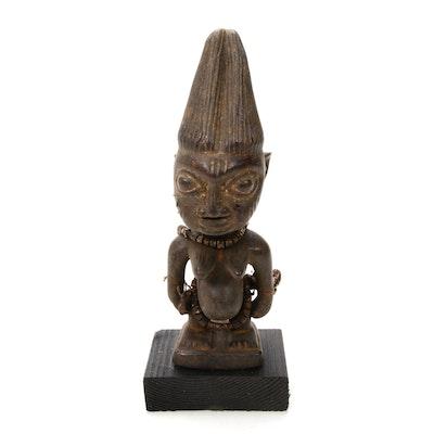 """Yoruba """"Ibeji"""" Style Wooden Figure, Nigeria"""