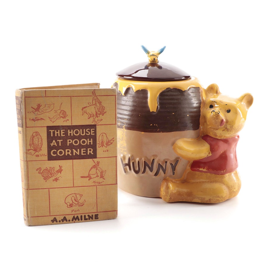 """""""The House at Pooh Corner"""" by A. A. Milne and Ceramic Winnie the Pooh Cookie Jar"""