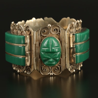 Mexican Glass Inlay Panel Bracelet