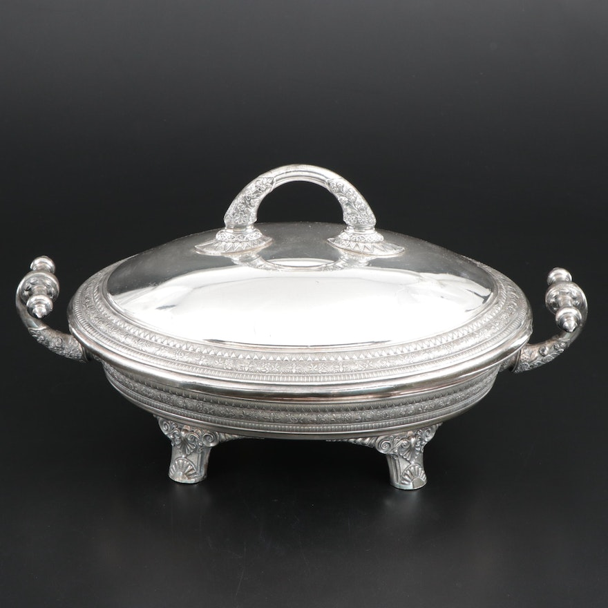 Rogers, Smith & Co. Aesthetic Movement Silver Plate Serving Dish,  Late 19th C.