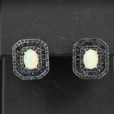 Sterling Opal and Sapphire Octagonal Earrings
