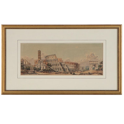 Mixed Media Painting of Roman Colosseum, Late 19th Century