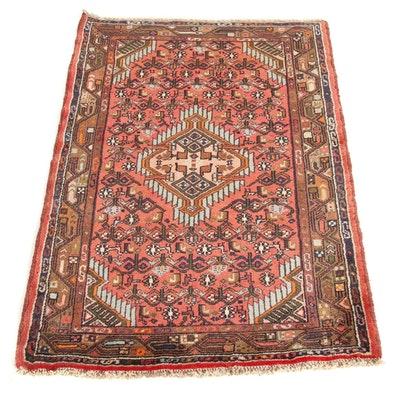2'8 x 4'2 Hand-Knotted Persian Malayer Rug, 1970s