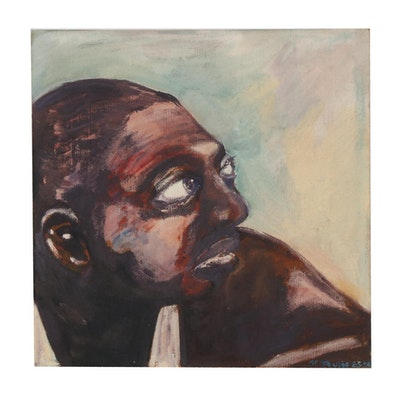 K. Paulig Oil Painting of Male Portrait, 1959