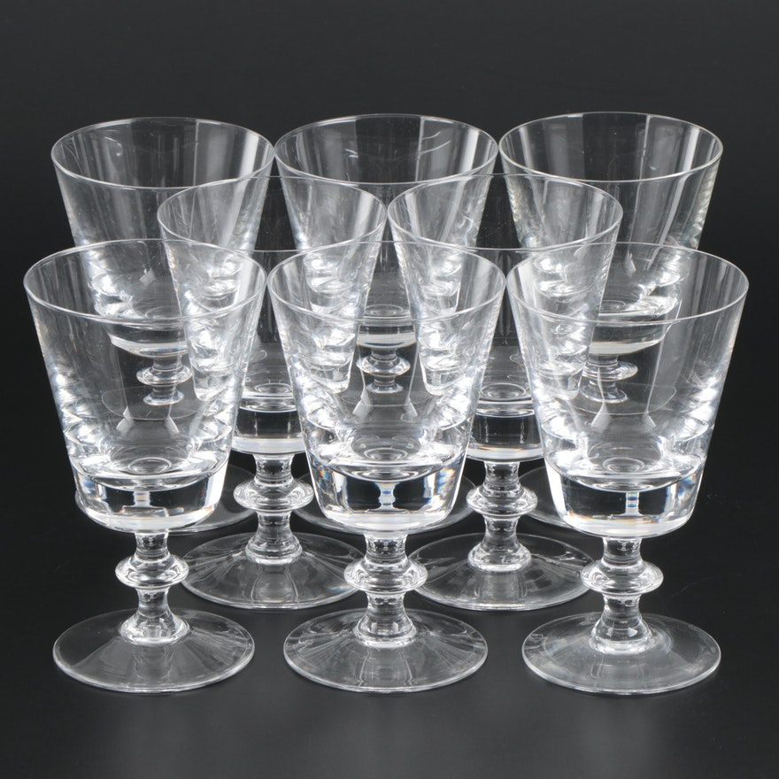 """Val St. Lambert """"State Plain"""" Crystal Water Goblets, Mid-Late 20th Century"""