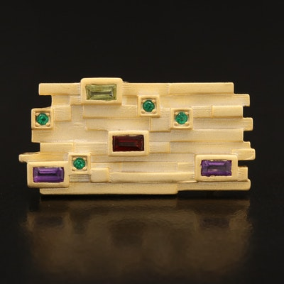 Sterling Peridot, Citrine, Amethyst and Garnet Satin Finish Ring