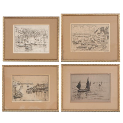 Hayley Lever Nautical Scene Etchings, Early to Mid 20th Century