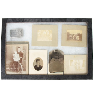 Display Box of Family Photography and Sterling Silver Belt Buckle