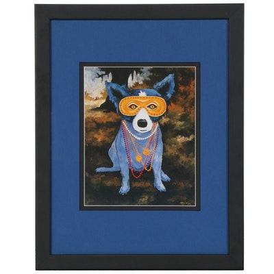 "Offset Lithograph after George Rodrigue for ""Der Blaue Hund"", circa 1992"