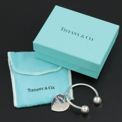 Tiffany & Co. Heart Tag Key Ring with Pouch and Box