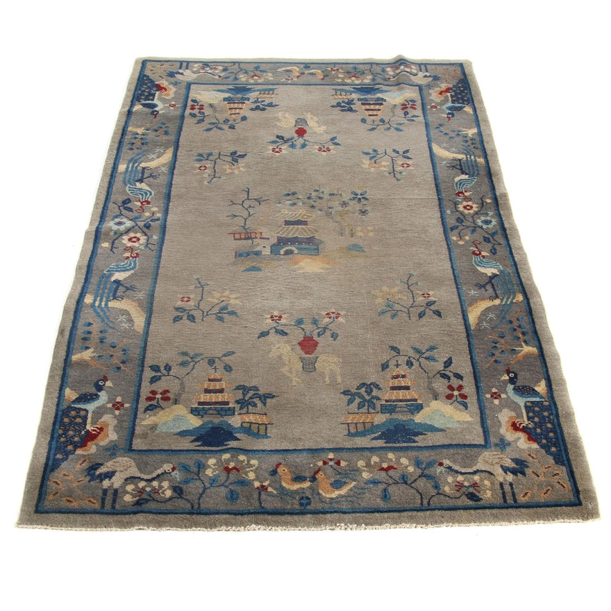 4'1 x 6'11 Hand-Knotted Chinese Pictorial Rug, 1930s