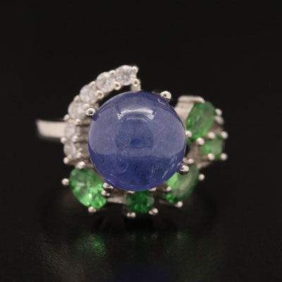Sterling Silver Tanzanite, Diopside and Cubic Zirconia Ring