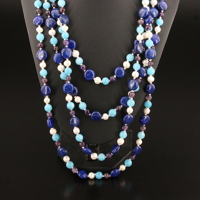 Lapis Lazuli, Pearl, Amethyst and Beryl Beaded Necklace with Sterling Clasp