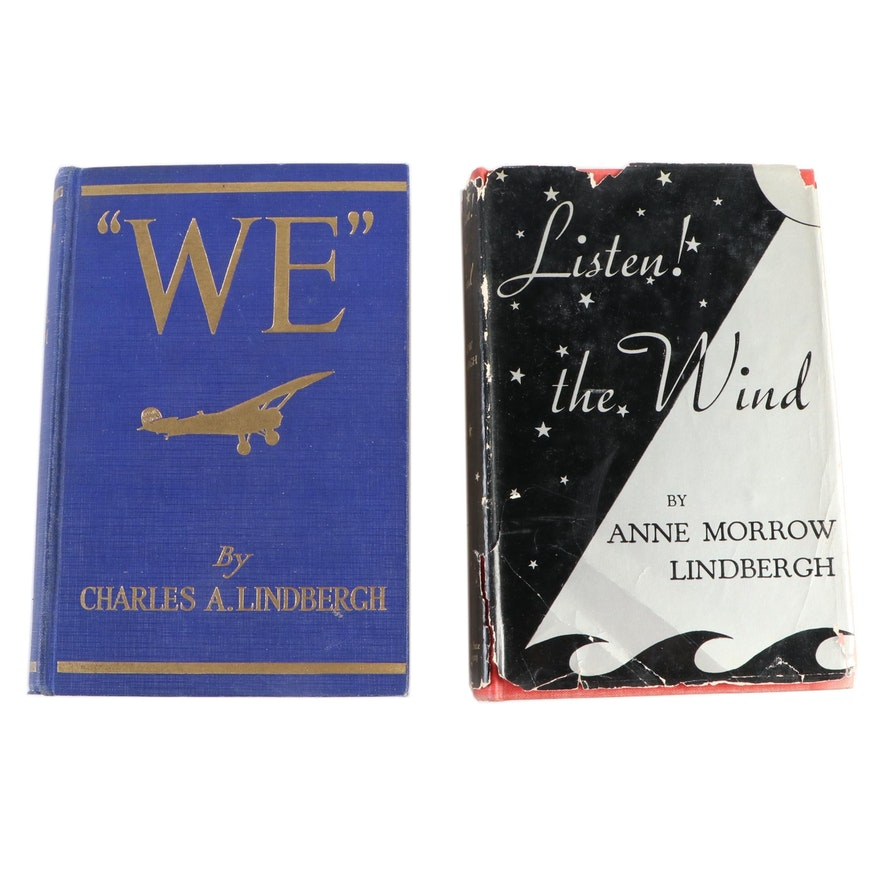 "First Editions ""WE"" by C. Lindbergh and ""Listen! the Wind"" by Anne M. Lindbergh"