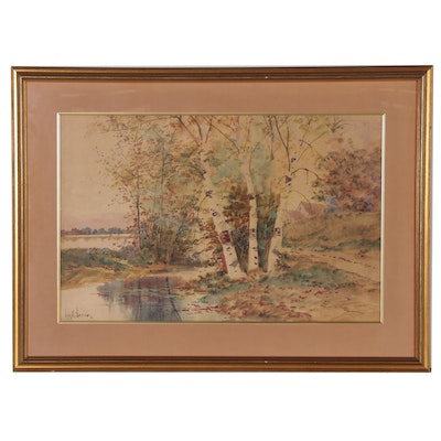 Louis K. Harlow Watercolor Landscape Painting, Late 19th to Early 20th Century
