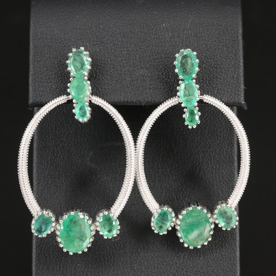 Sterling Emerald Textured Dangle Earrings