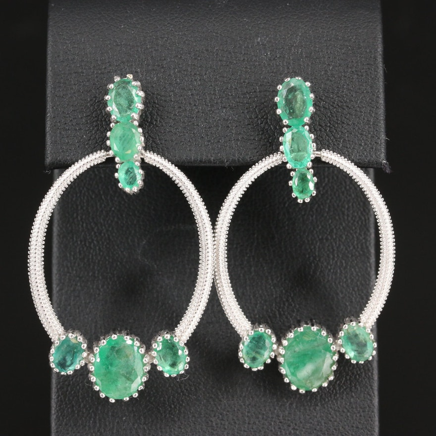 Sterling Emerald Textured Dangle Earrings