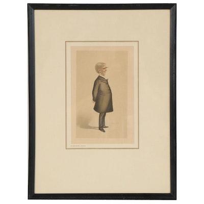 """Caricature Letterpress Halftone after Leslie Ward """"Oliver Wendell Holmes"""""""