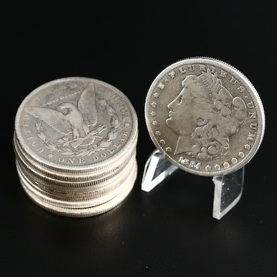Ten Morgan Silver Dollars, 1878 to 1890