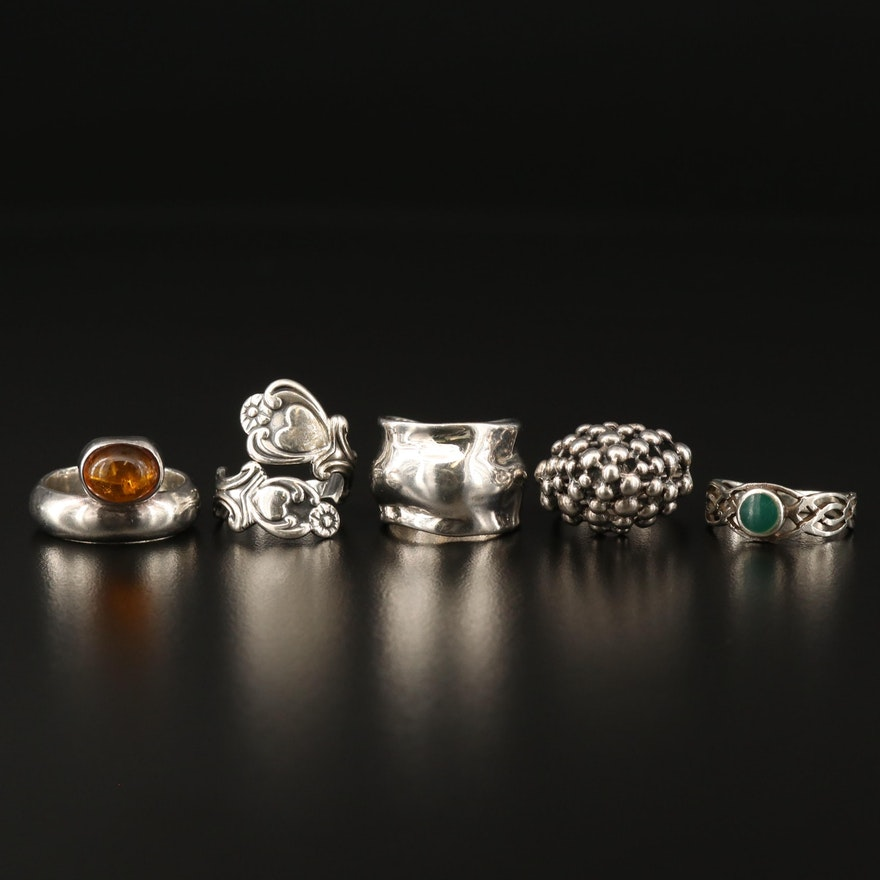 Assortment of Sterling Silver Rings Including Copal Accent