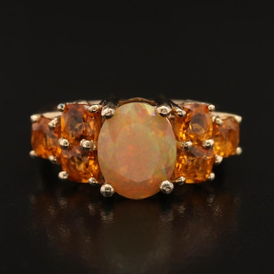 Sterling Opal and Citrine Ring