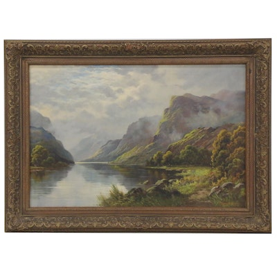 Thomas C. Blake Hudson River Style Oil Painting, Early to Mid 20th Century