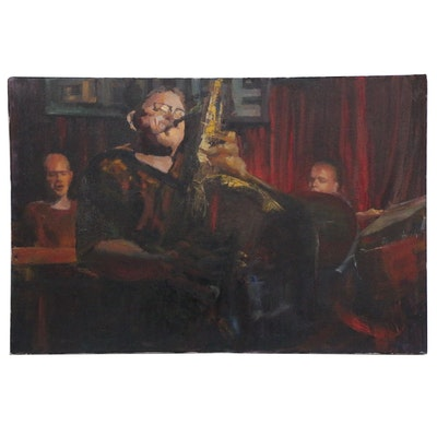 """Kaz Ooka Oil Painting """"Power Sax"""", 2006"""