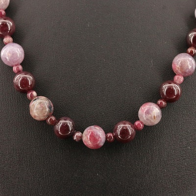 Garnet and Quartz Beaded Necklace