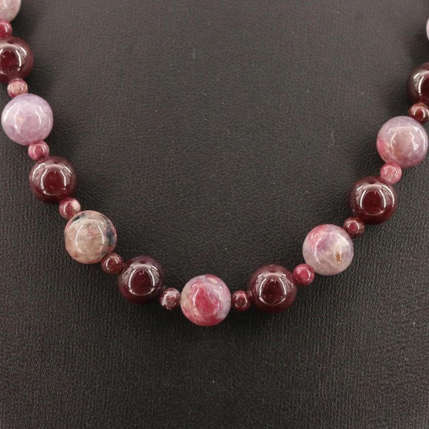 Garnet and Quartz Beaded Necklace