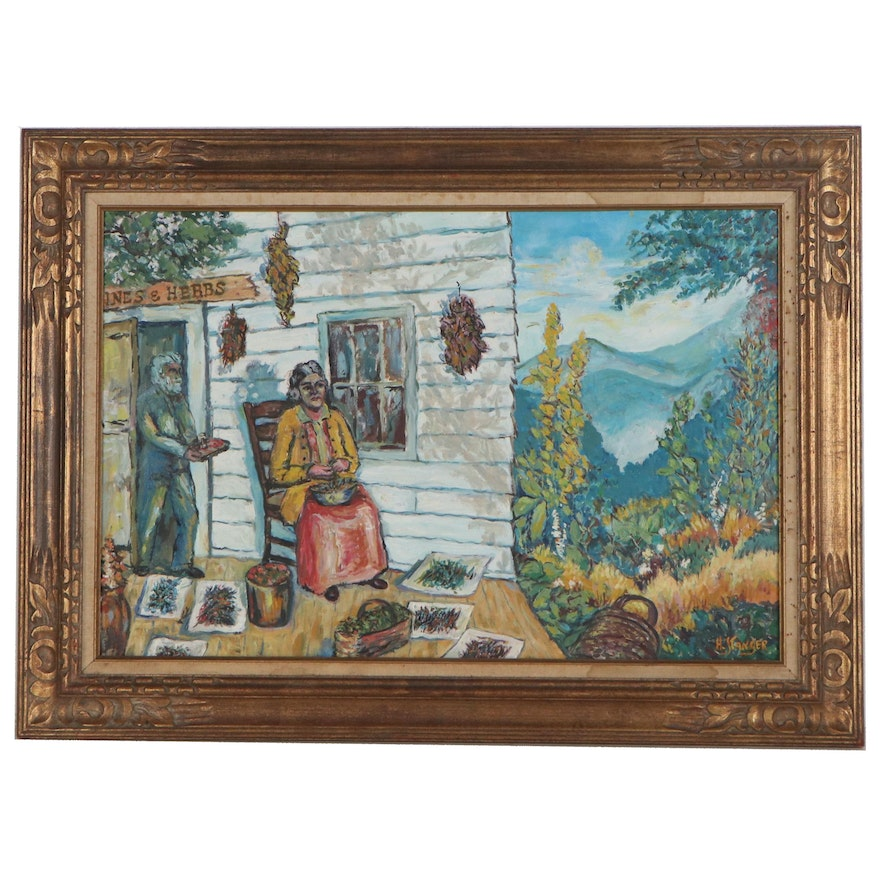 H. Stanger Oil Painting of Figural Genre Scene, Late 20th Century